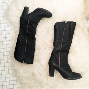 Timberland Black Leather Heeled Zip Up Tall Boots